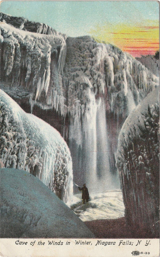 Cave Of The Winds Niagara In Winter Antique Postcard