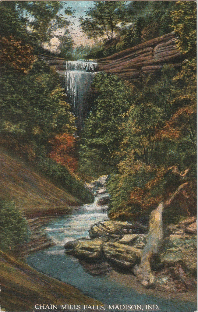 Chain Mills Falls Madison Indiana Postcard