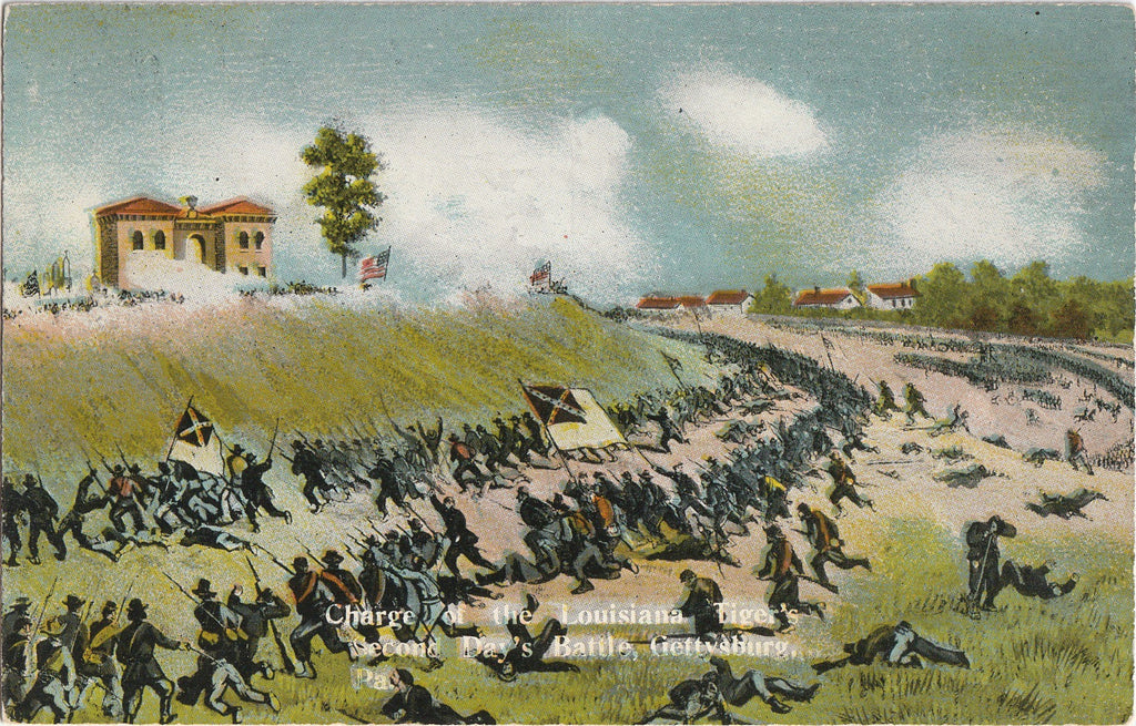 Charge of the Louisiana Tiger's Gettysburg Postcard
