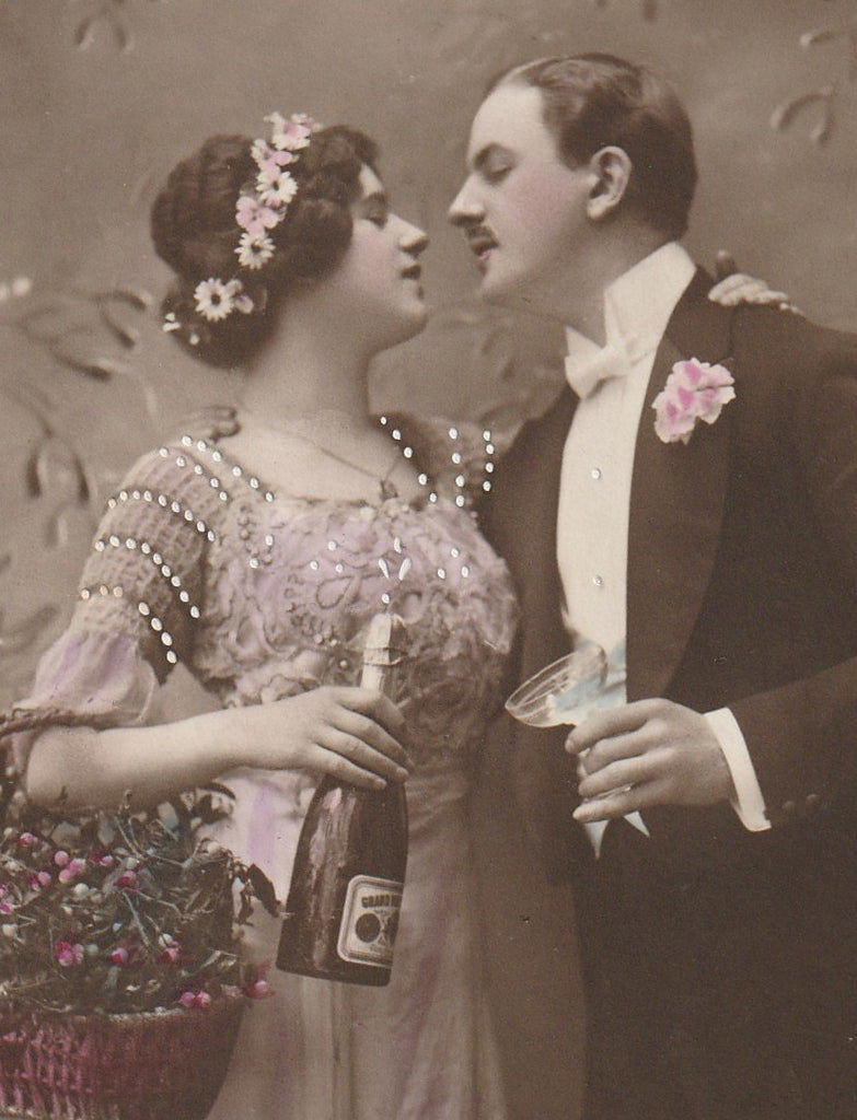 Cheers Darling Antique New Year RPPC Close Up 2