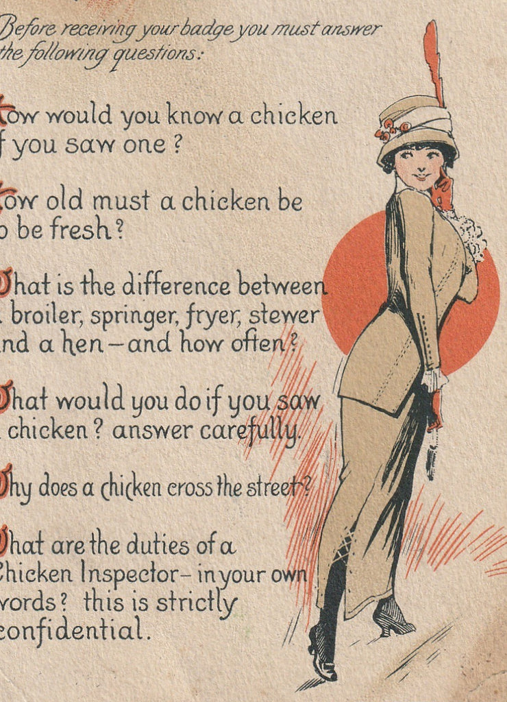 Chicken Inspector Antique Postcard Close Up