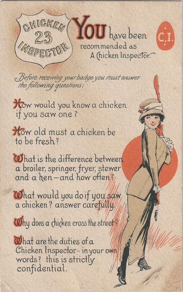 Chicken Inspector Antique Postcard