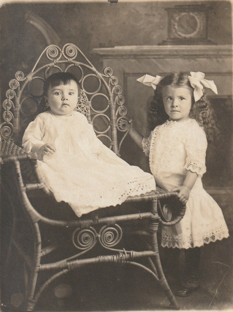 Edwardian Children's First Portrait  RPPC Close UP