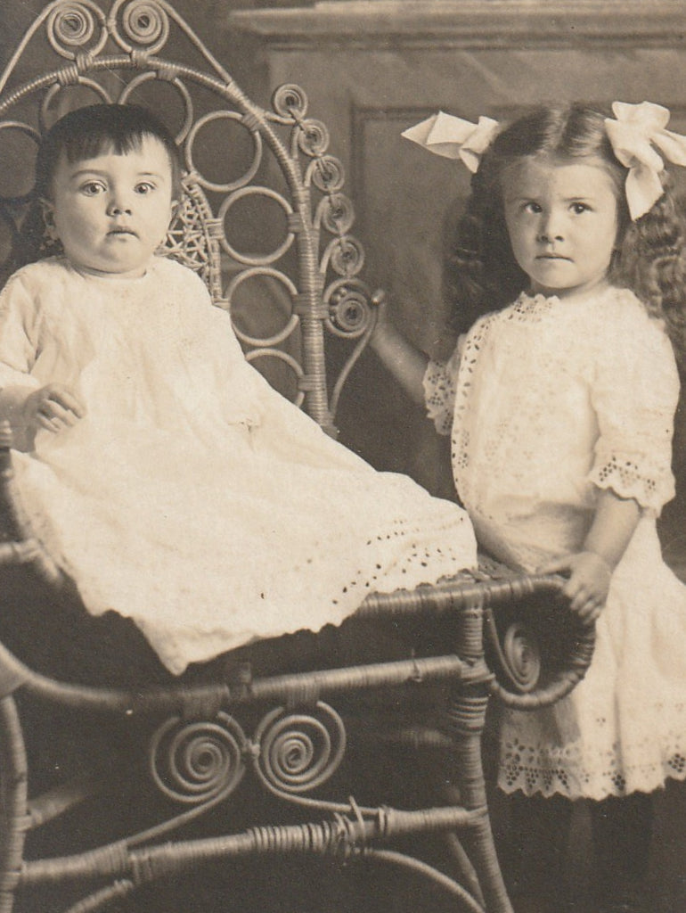 Edwardian Children's First Portrait  RPPC Close Up 2