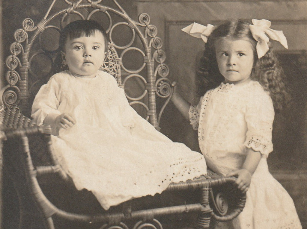 Edwardian Children's First Portrait  RPPC Close Up 3