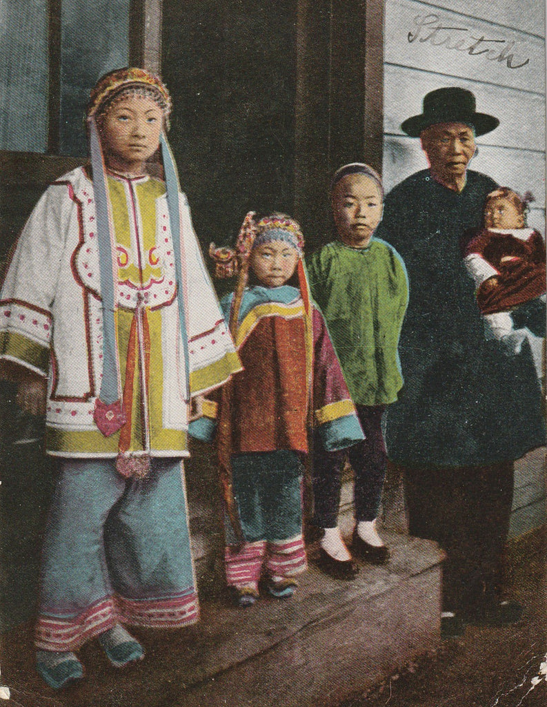 Chinese Family Chinatown San Francisco California Antique Postcard Close Up