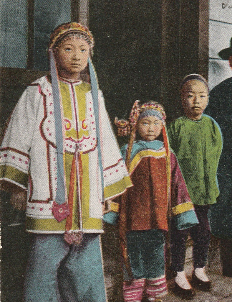 Chinese Family Chinatown San Francisco California Antique Postcard Close Up 2