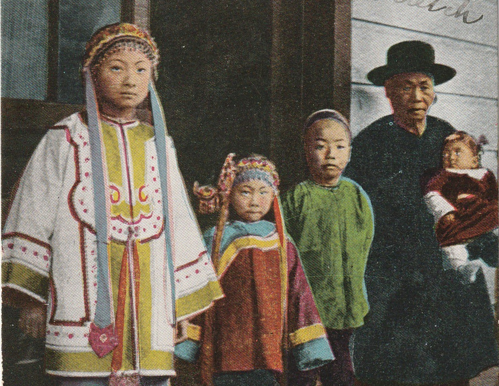 Chinese Family Chinatown San Francisco California Antique Postcard Close Up 3