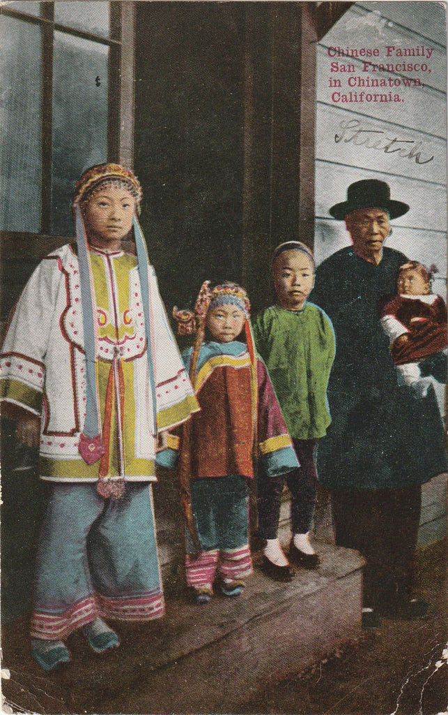 Chinese Family Chinatown San Francisco California Antique Postcard