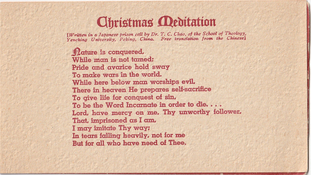 Christmas Meditation By Dr. T. C. Chao - Card, c. 1940s