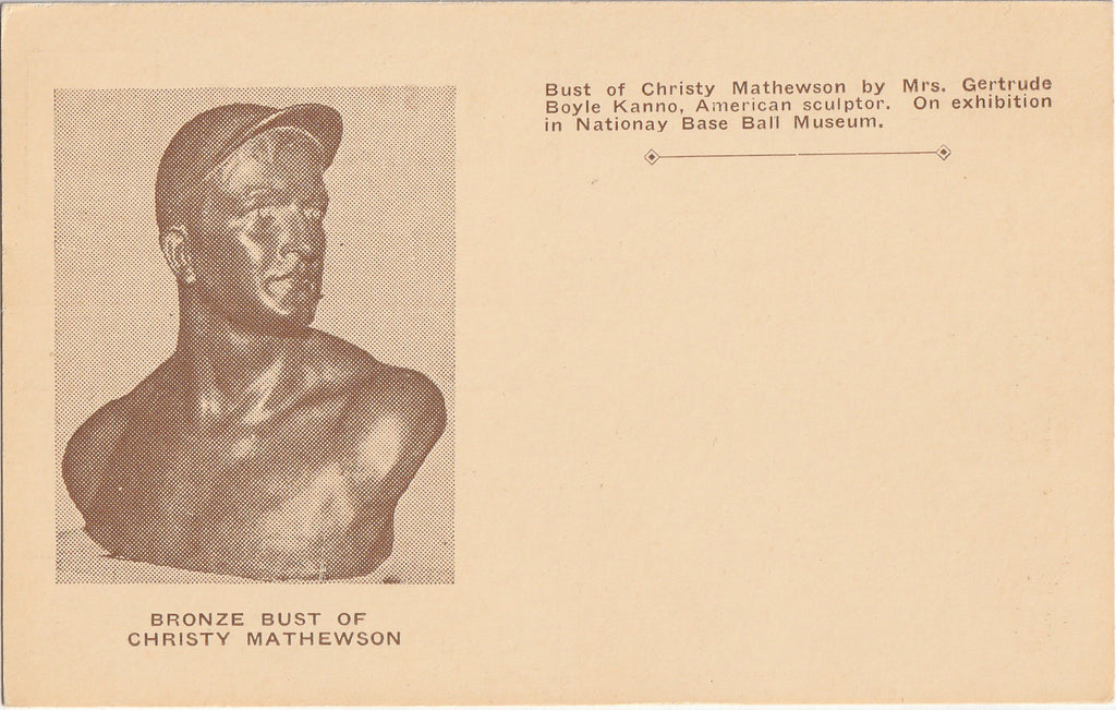 Christy Mathewson National Base Ball Hall of Fame Cooperstown NY Postcard