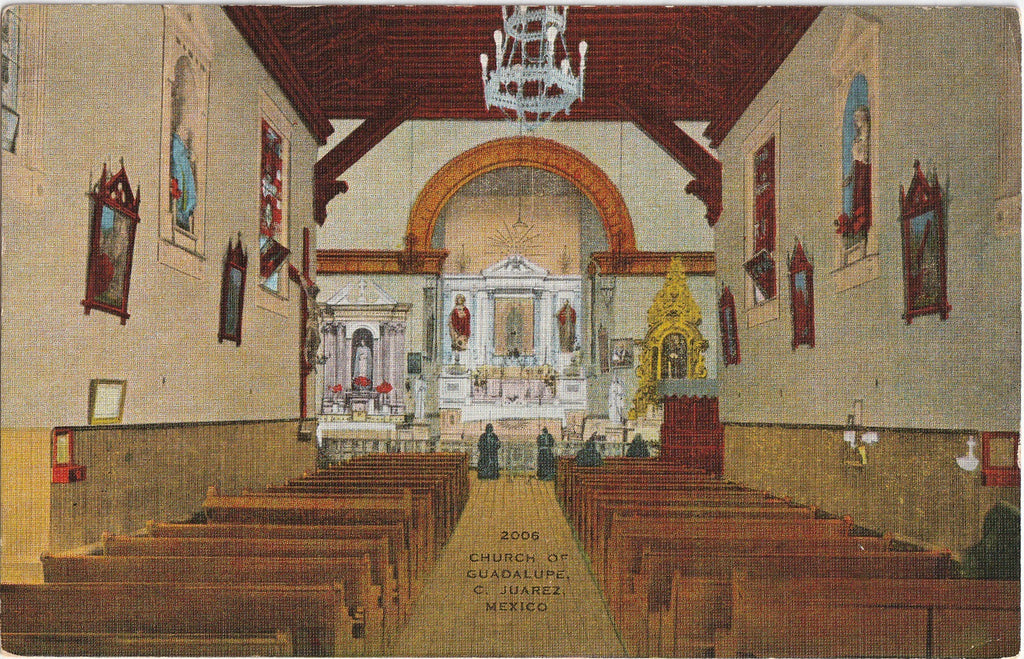 Church of Guadalupe Interior C. Juarez Mexico Postcard
