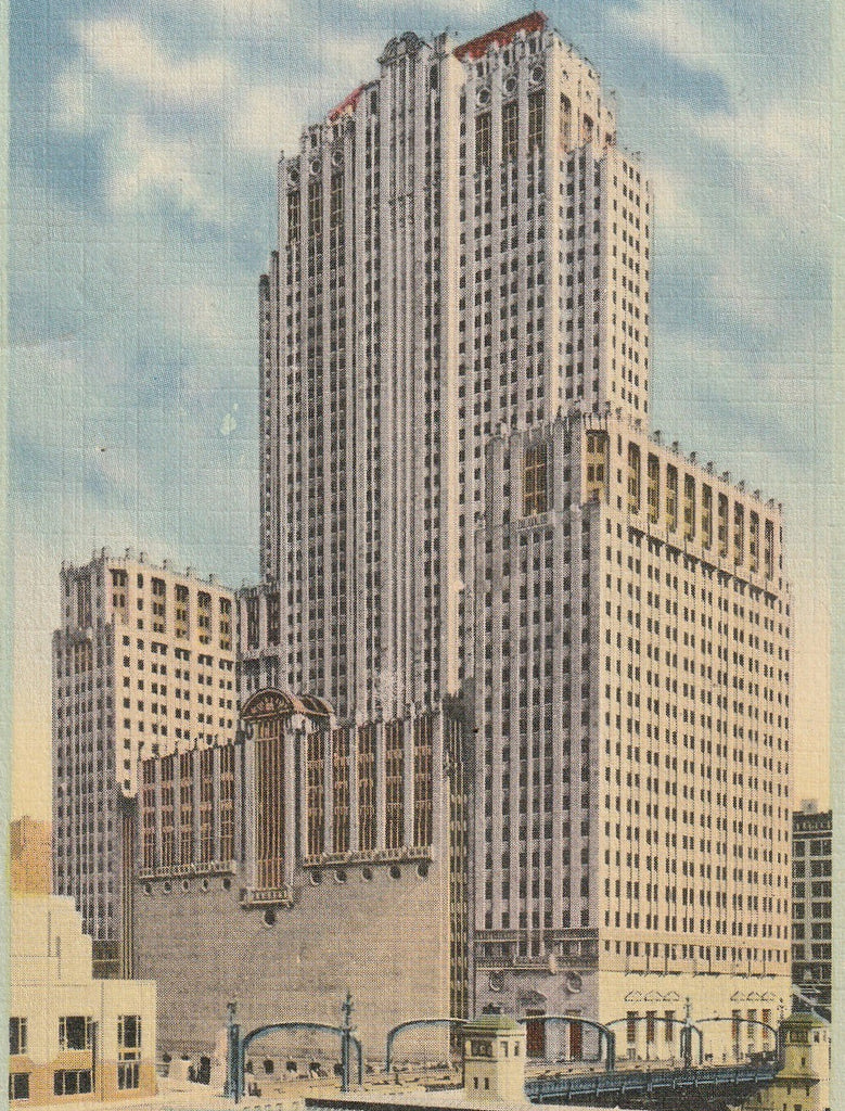 Civic Opera Building Chicago Postcard Close Up
