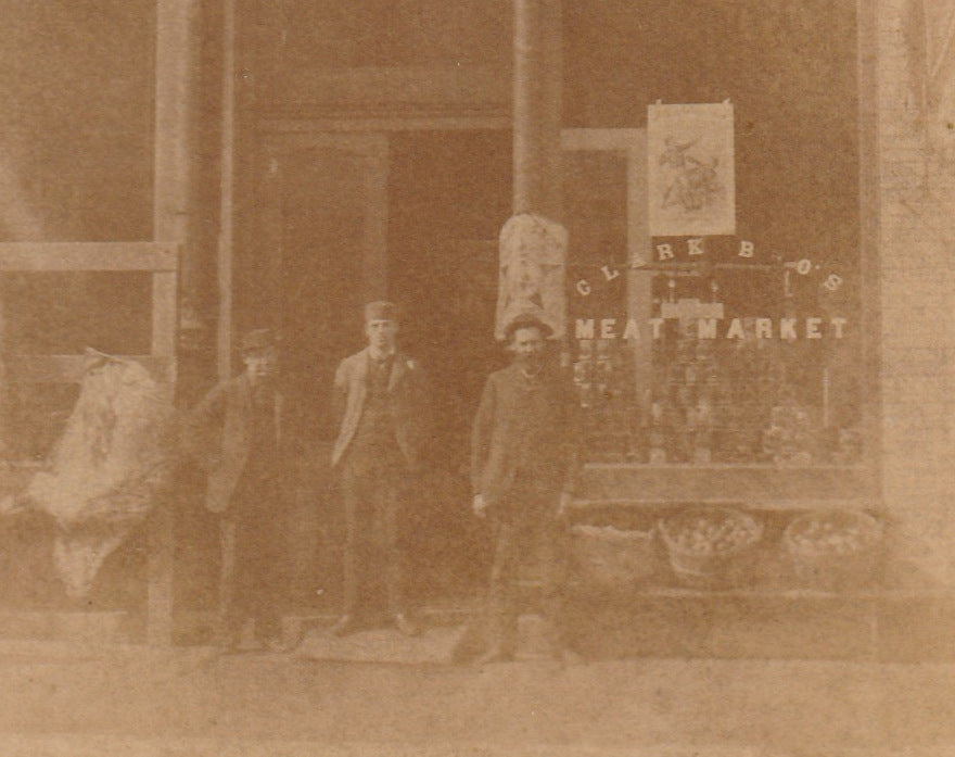 Clark Brothers Meat Market - Muskegon, MI - Cabinet Photo, c. 1880s