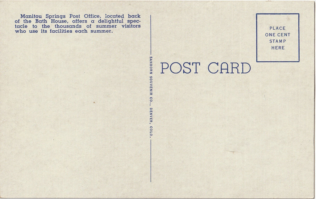 Colonial U. S. Post Office Manitou Springs Colorado Postcard Back