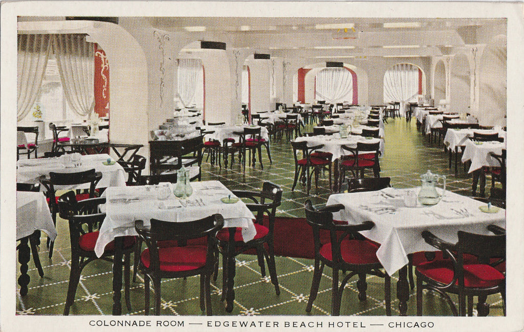 Colonnade Room Edgewater Beach Hotel Chicago Postcard