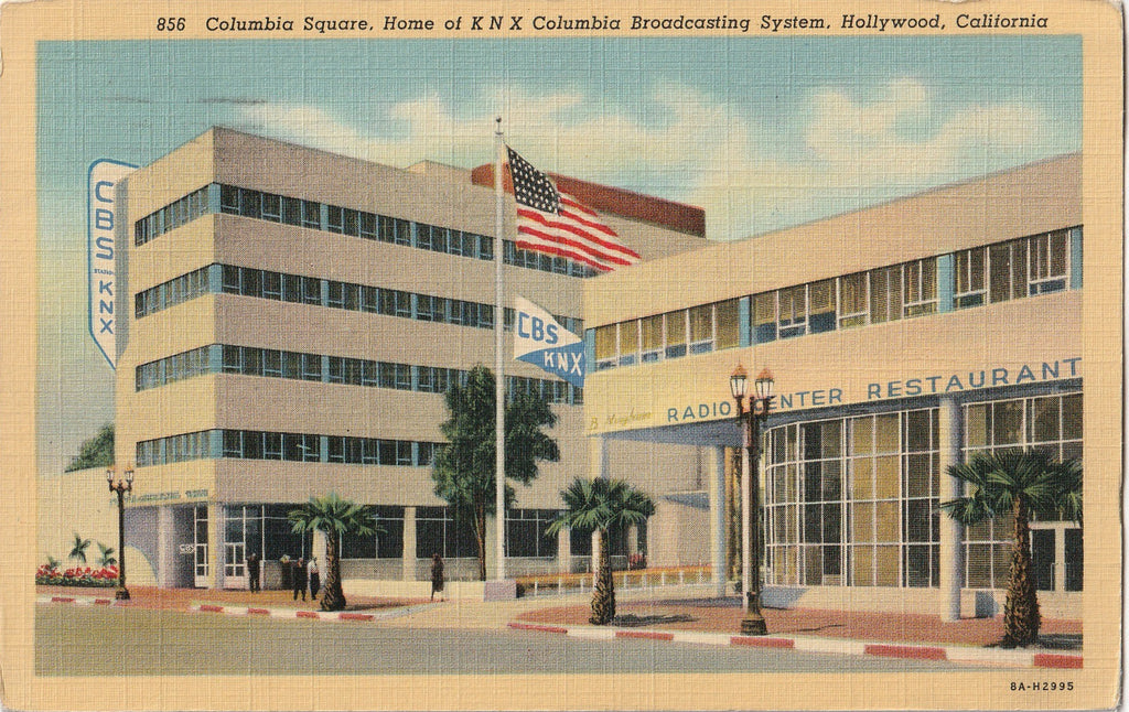 Columbia Square Home of KNX Columbia Broadcasting System Hollywood California Postcard