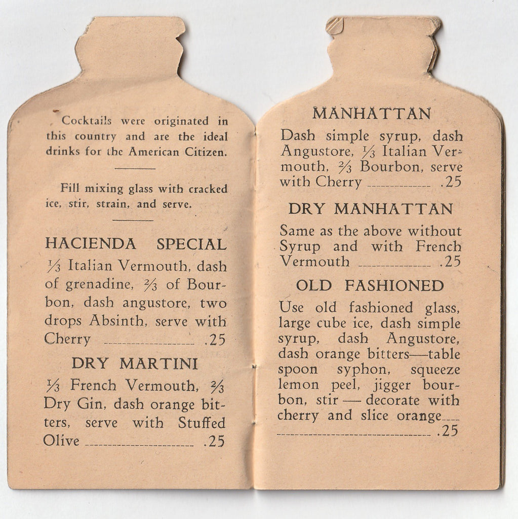 Compliments of Hacienda Cafe and Beer Garden - Chicago, IL - Booklet, c. 1930s Inside 2