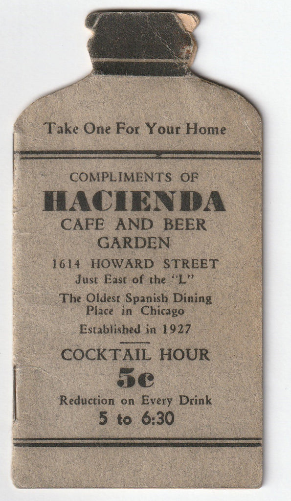 Compliments of Hacienda Cafe and Beer Garden - Chicago, IL - Booklet, c. 1930s