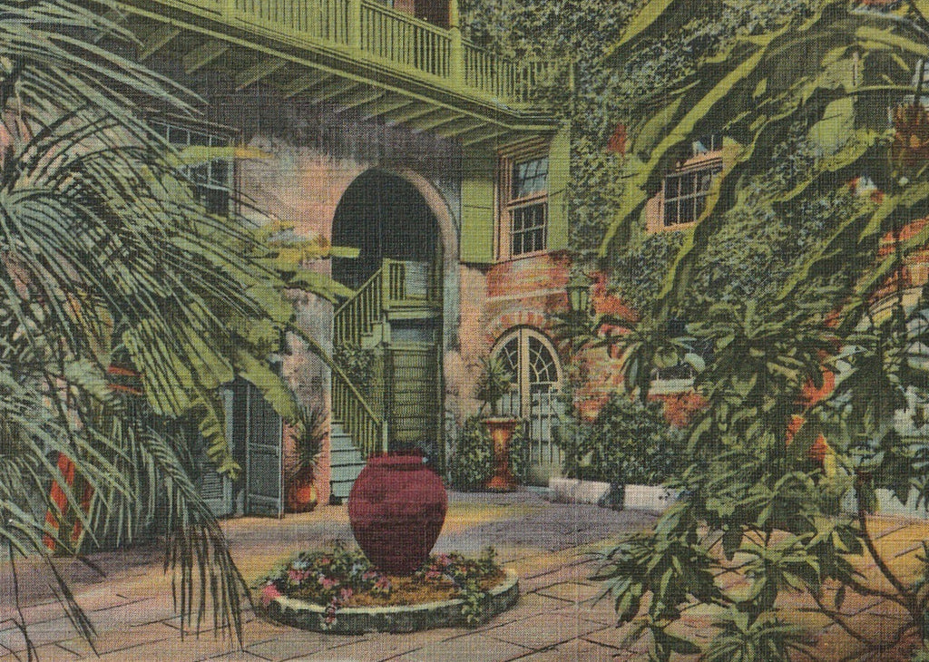 Courtyard in the French Quarter New Orleans Vintage Postcard Close Up