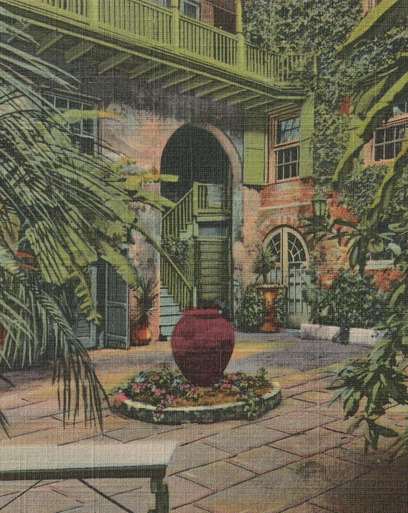 Courtyard in the French Quarter New Orleans Vintage Postcard Close Up 2