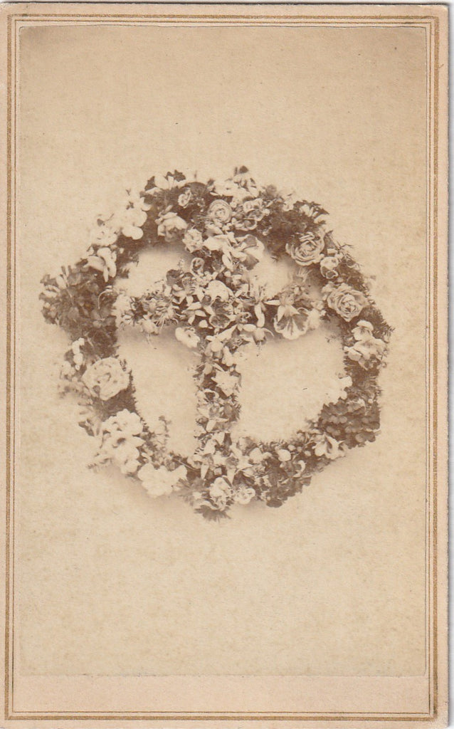 Cross of Flowers Memorial Wreath CDV Photo