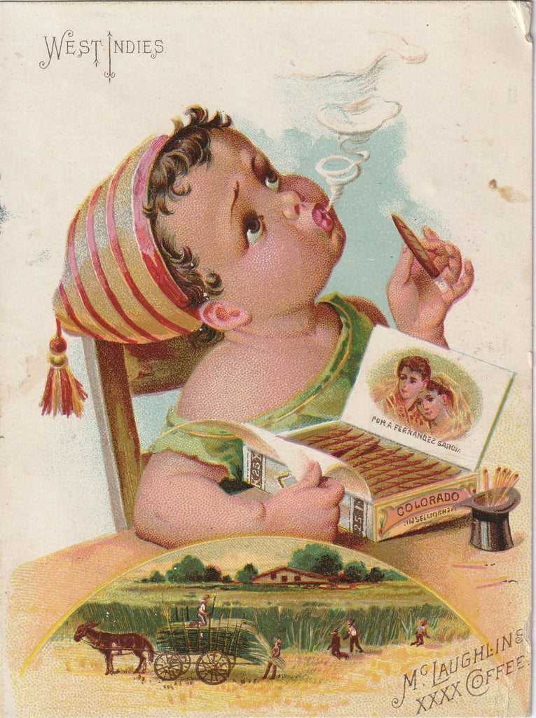 Cigar Smoking Baby Trade Card