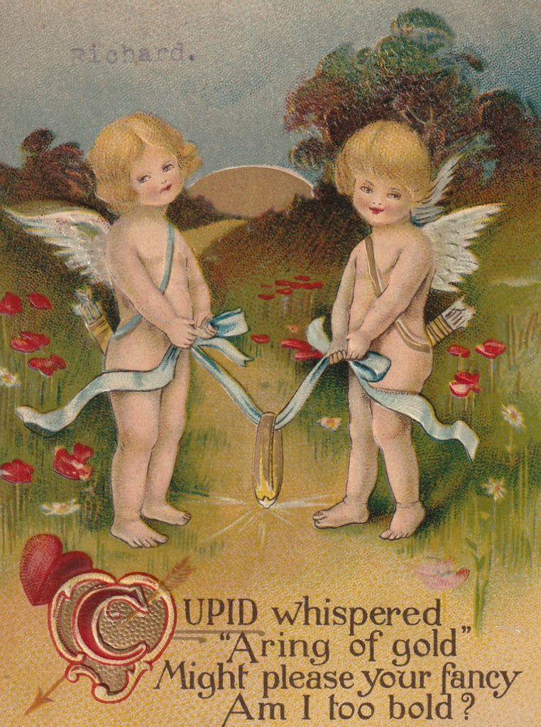 Cupid Whispered A Ring Of Gold Antique Valentine Postcard Close Up