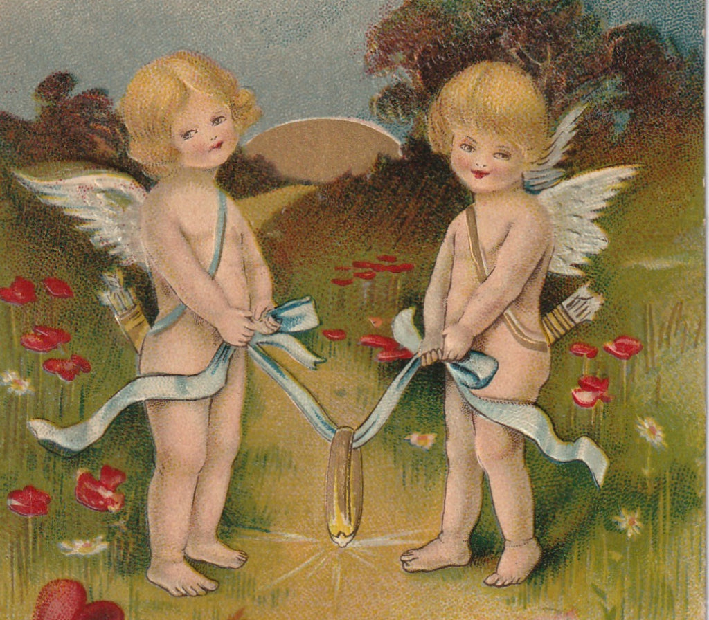 Cupid Whispered A Ring Of Gold Antique Valentine Postcard Close Up 2