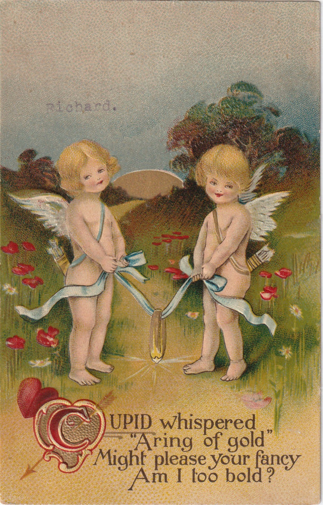 Cupid Whispered A Ring Of Gold Antique Valentine Postcard