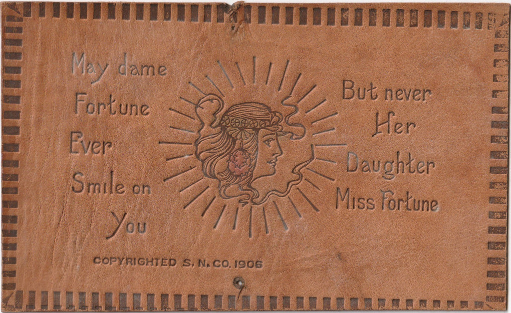 Dame Fortune But Never Miss Fortune Leather Postcard