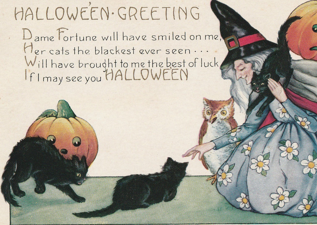 Dame Fortune's Black Cats Halloween Postcard Close Up