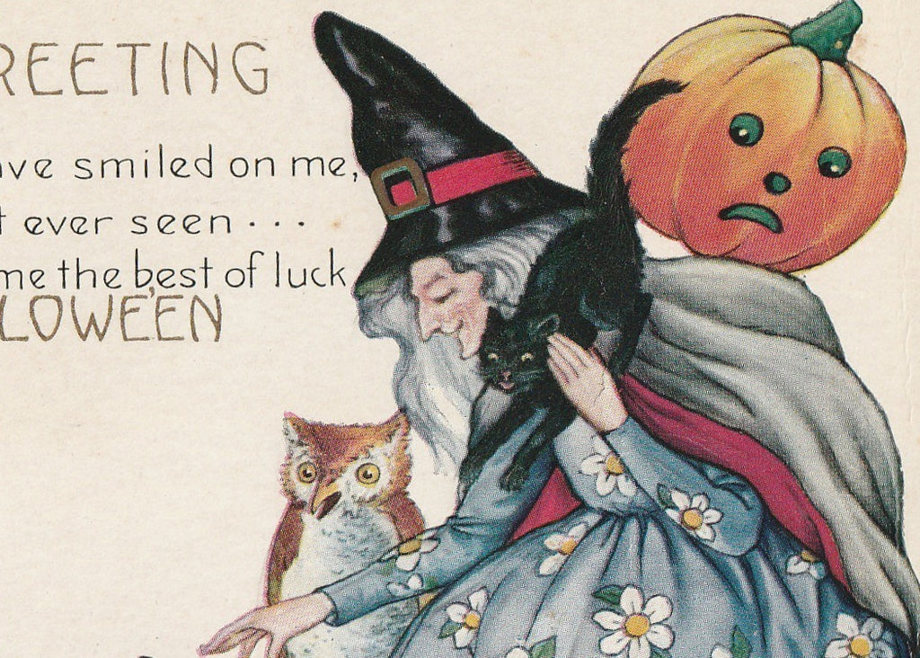 Dame Fortune's Black Cats Halloween Postcard Close Up 3