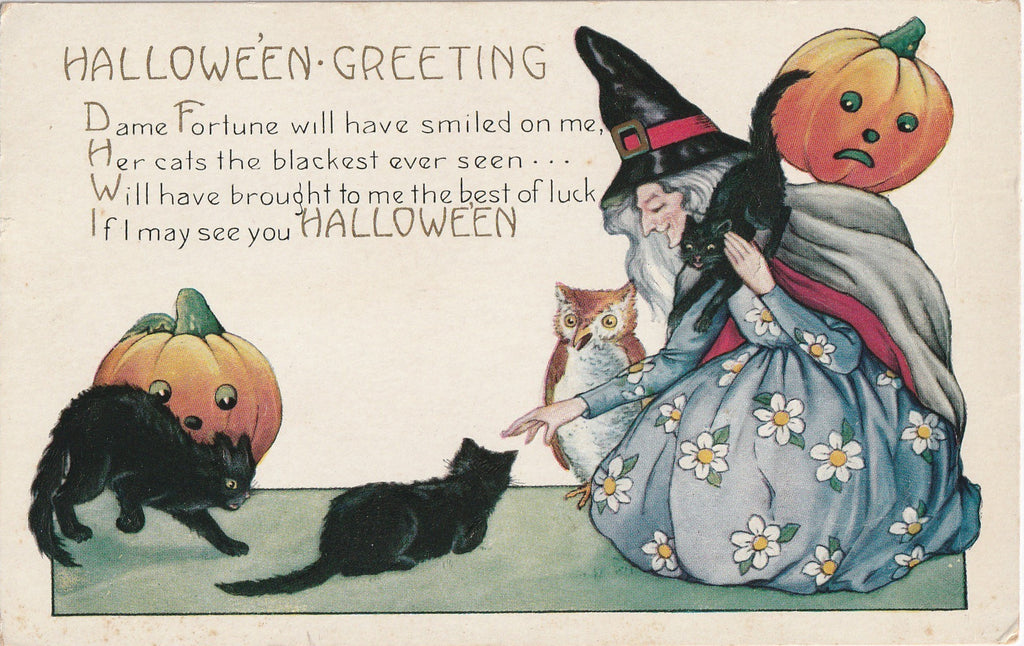 Dame Fortune's Black Cats Halloween Postcard