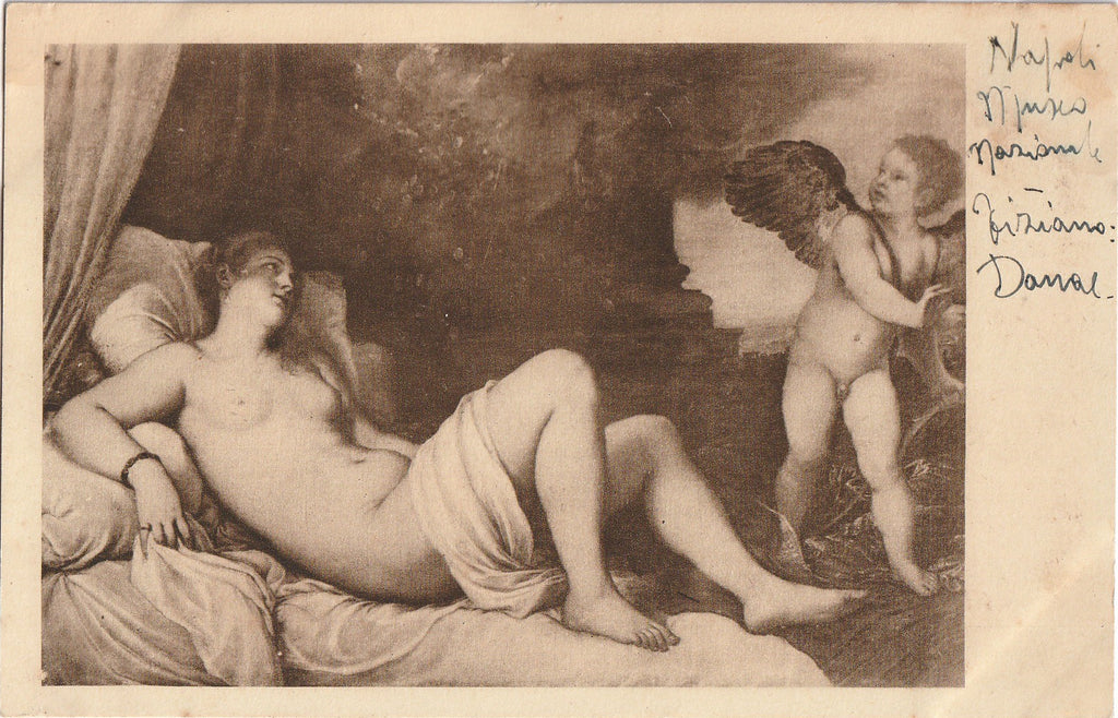 Danae Shower of Gold Tiziano Vecellio Postcard