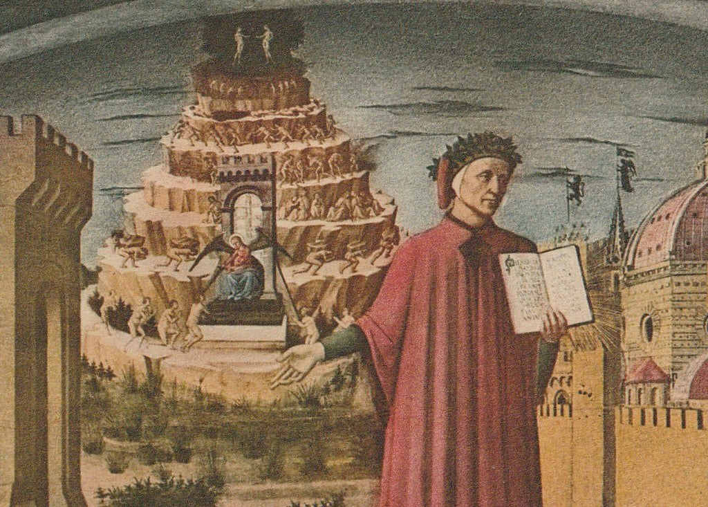 Dante and His Poem Painting Domenico di Michelini Postcard Close Up