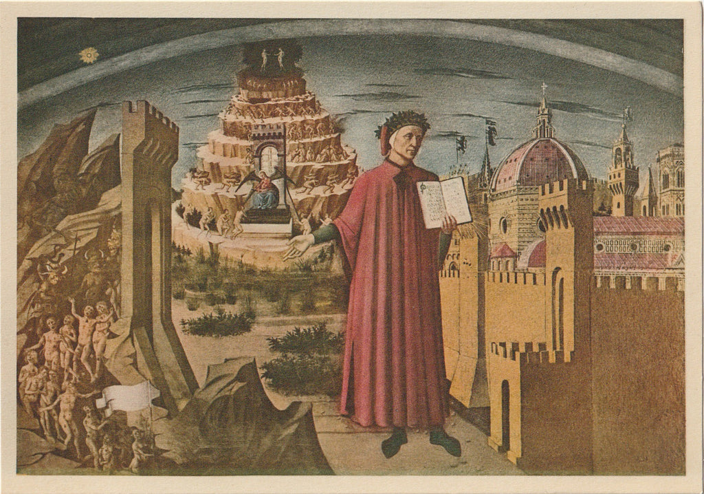 Dante and His Poem Painting Domenico di Michelini Postcard