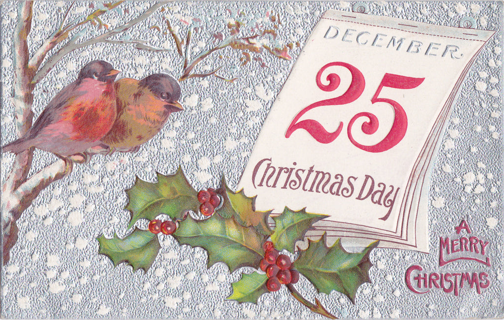 Christmas Day- 1910s Antique Postcard- December 25th- Calendar Card- Edwardian Holiday Decor- Winter Birds- Embossed- Used