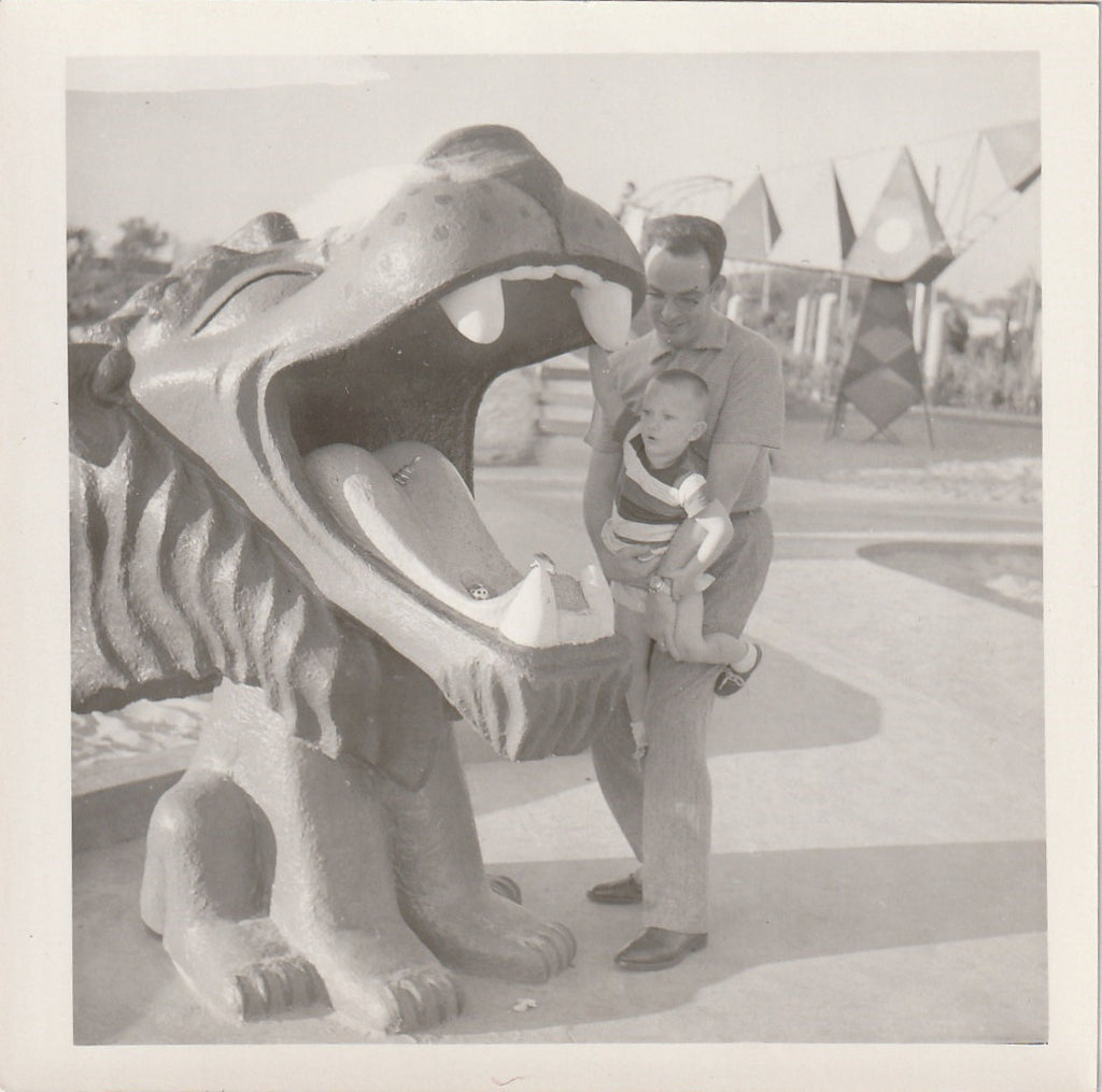 Dennis The Menace Playground Lion Fountain Vintage Photo