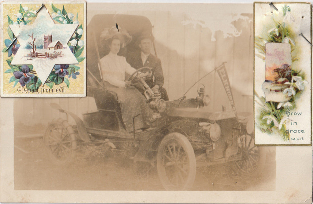 Depart From Evil Elkhorn Automobile Antique Photo RPPC