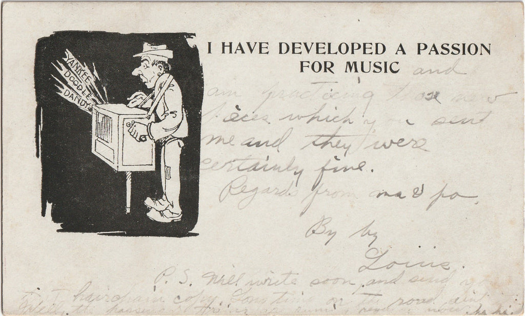 Developed A Passion for Music Antique Postcard