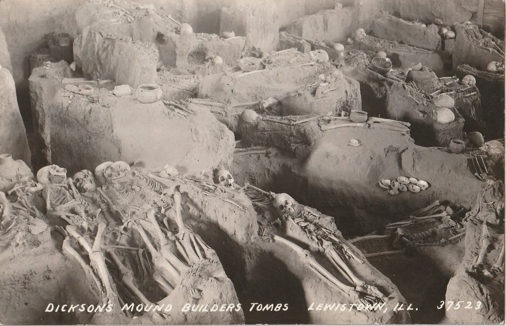 Dickson's Mound Builders Tombs - SET of 3 - RPPCs, c. 1940s