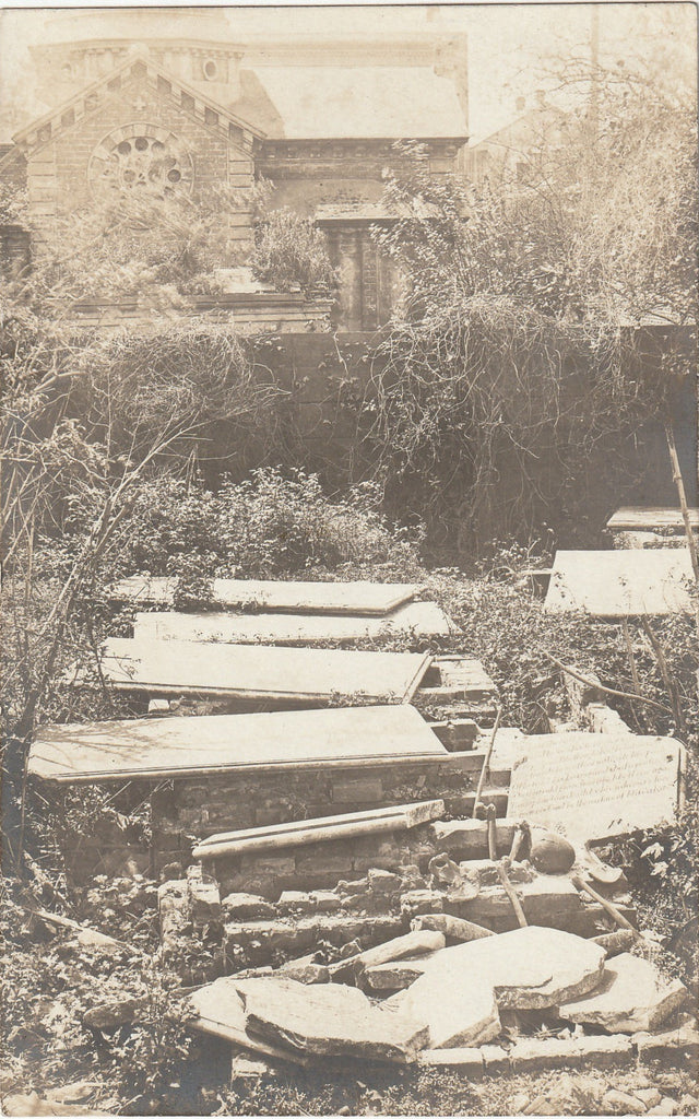 Disturbed Graves Cemetery Antique Photo RPPC