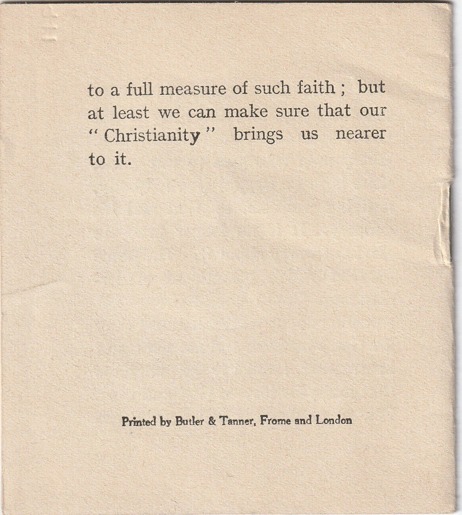 Don't Worry by Donald Hankey YMCA Booklet Back Cover