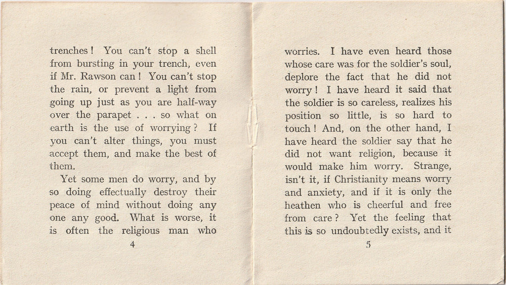 Don't Worry by Donald Hankey YMCA Booklet Inside 2