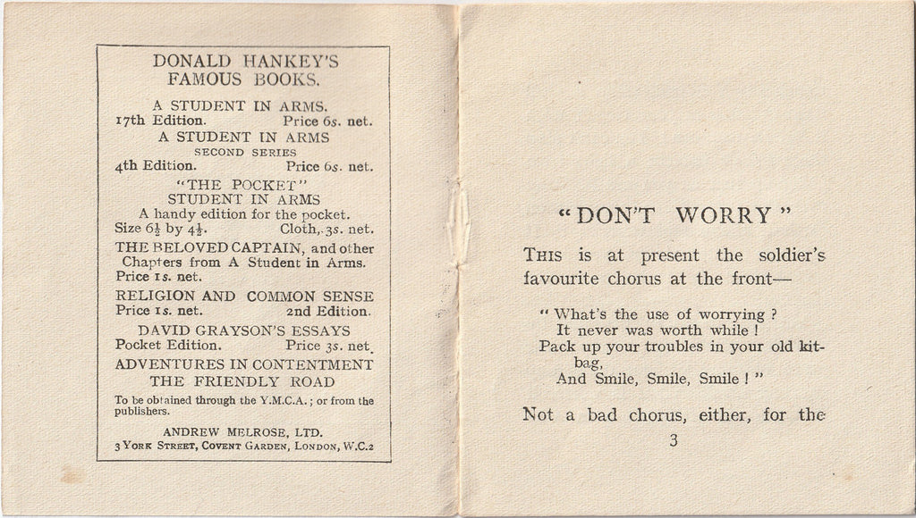 Don't Worry by Donald Hankey YMCA Booklet Inside