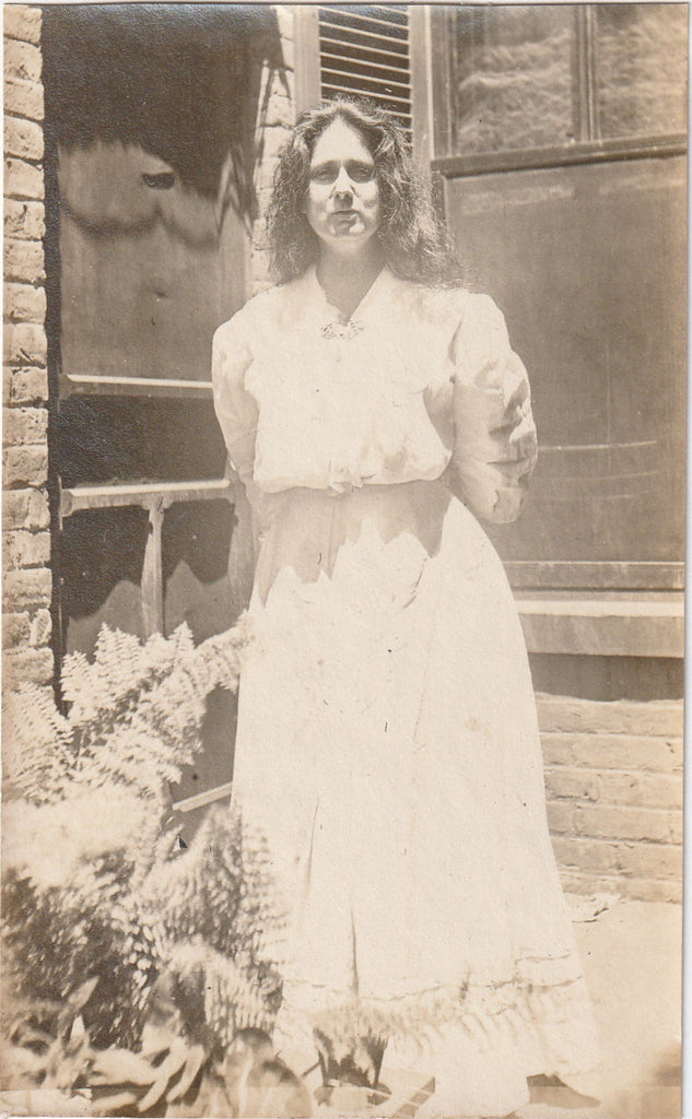 Drenched in Sunlight Edwardian Woman and Ferns Snapshot
