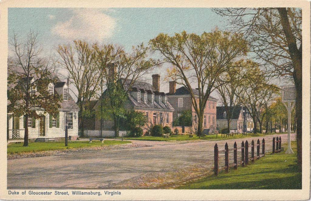 Duke of Gloucester Street Williamsburg Virginia Postcard