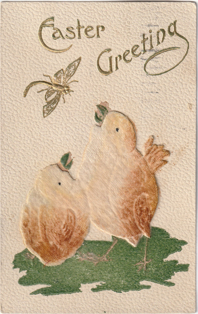 Easter Chicks and Dragonfly - Postcard, c. 1900s