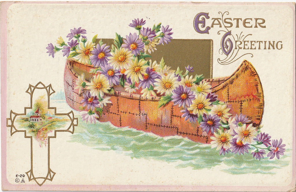 Easter Canoe E Nash Antique Postcard